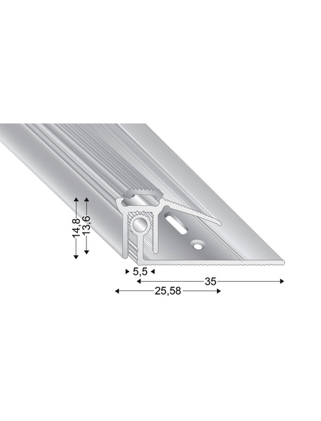 KÜGELE PROFILE Abschlussprofil Set »TRIO GRIP® x«, silberfarben, BxLxH: 25,58 x 1000 x verstellbar 7,5-16,5 mm