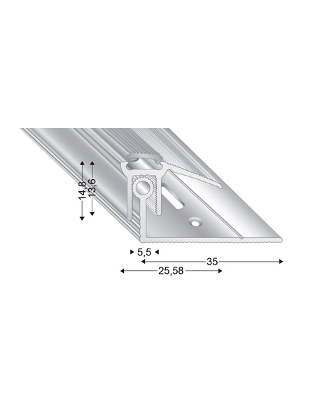 KÜGELE PROFILE Abschlussprofil Set »TRIO GRIP® x«, silberfarben, BxLxH: 25,58 x 2700 x verstellbar 13-21 mm
