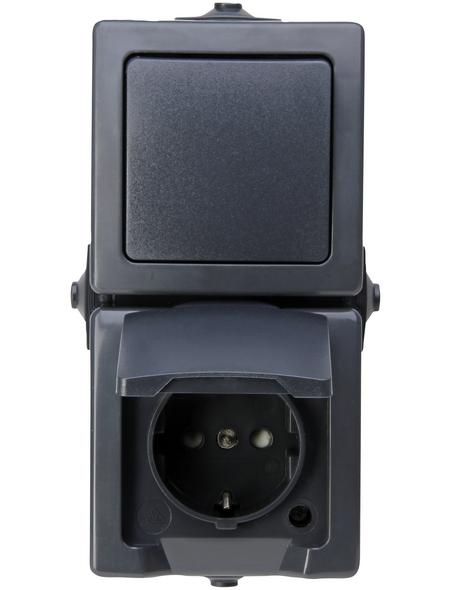 KOPP Aus-/Wechselschalter-Steckdosenkombination, NAUTIC, Kunststoff, Anthrazit