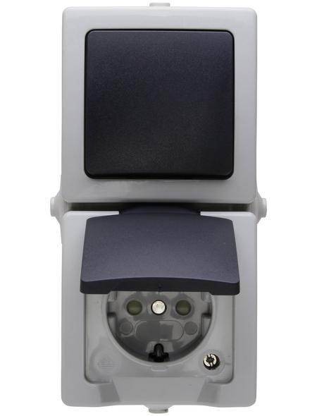 KOPP Aus-/Wechselschalter-Steckdosenkombination, NAUTIC, Kunststoff, Grau