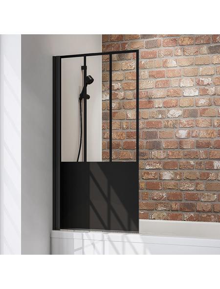 SCHULTE Badewannentrennwand »Black Style Komfort«, BxH: 80 x 140 cm, Einscheiben-Sicherheitsglas (ESG)