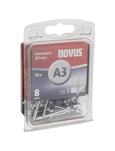 NOVUS Blindniete, A3, Aluminium, Ø 3 x 8 mm, 70 St.