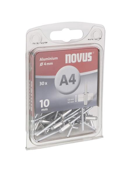NOVUS Blindniete, A4, Aluminium, Ø 4 x 10 mm, 30 St.