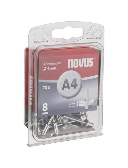 NOVUS Blindniete, A4, Aluminium, Ø 4 x 8 mm, 70 St.