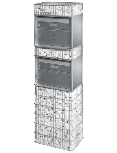 BELLISSA Briefkastengabione »Splügen«, BxHxL: 31 x 145 x 44 cm, Blech/Stahl