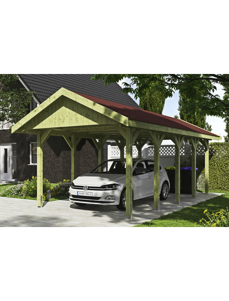 SKANHOLZ Carport »Wallgau«, Außenmaß BxT: 380 x 750 cm, grün