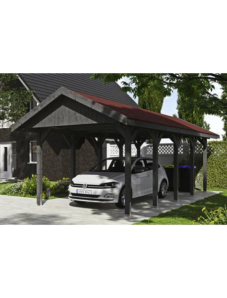 SKANHOLZ Carport »Wallgau«, Außenmaß BxT: 380 x 750 cm, schiefergrau