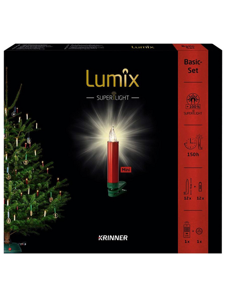 Krinner Christbaumkerzen Lumix Superlight mini, Rot, 12er