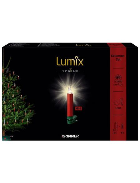 Krinner Christbaumkerzen Lumix Superlight mini, Rot   Grün, 6er