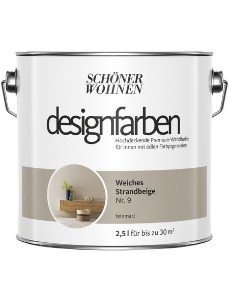 Schöner Wohnen Dispersionsfarbe »Designfarben«, Weiches Strandbeige Nr. 9, matt