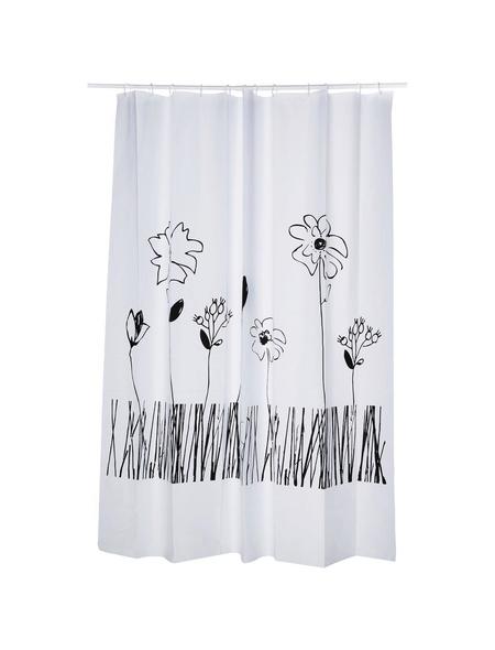 KLEINE WOLKE Duschvorhang »Grace«, BxH: 180 x 200 cm, Blumen, weiß/schwarz