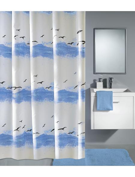 KLEINE WOLKE Duschvorhang »Seaside«, BxH: 180 x 200 cm, Wellen, krokusblau/weiß