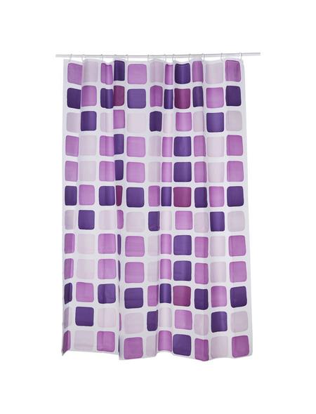 KLEINE WOLKE Duschvorhang »Sonny«, BxH: 180 x 200 cm, Quadrate, violett