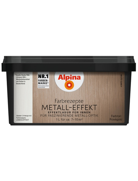 alpina Effektfarbe »Farbrezepte« in Metall-Optik, rosegoldfarben, 1 l