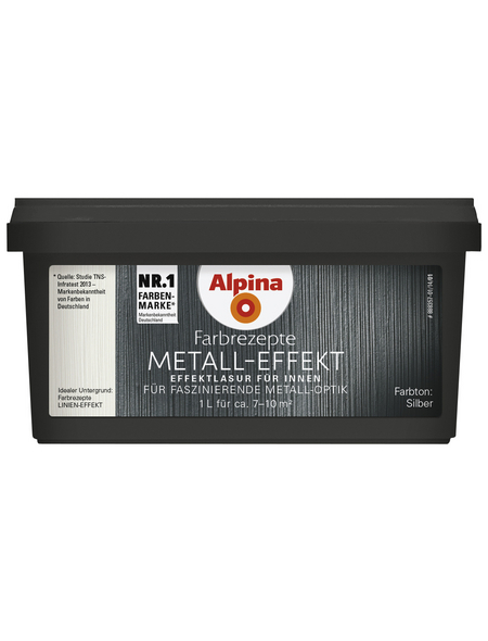 alpina Effektfarbe »Farbrezepte«, in Metall-Optik, silberfarben, 1 l