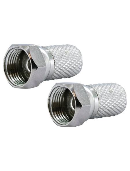 SCHWAIGER F-Stecker, D.7 mm 2 Stück, Silber, Metall, Koaxialkabel