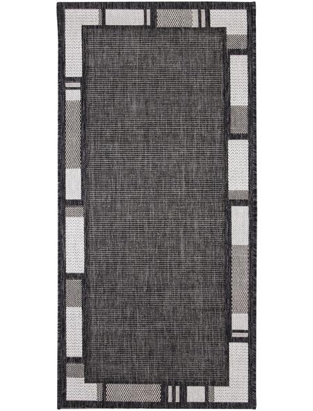 ANDIAMO Flachgewebe-Teppich »Louisiana«, BxL: 67 x 140 cm, anthrazit/silberfarben