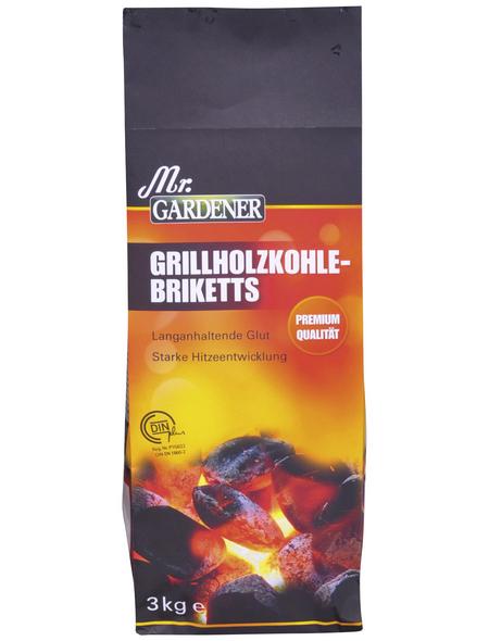 MR. GARDENER Grill-Briketts, aus Holzkohle, 3 kg