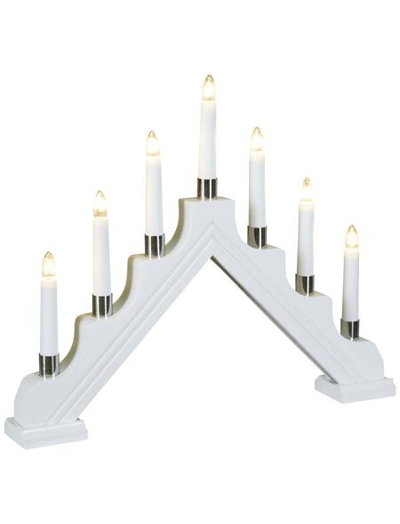 KONSTSMIDE Holzleuchter 7-flammig, weiß, innen