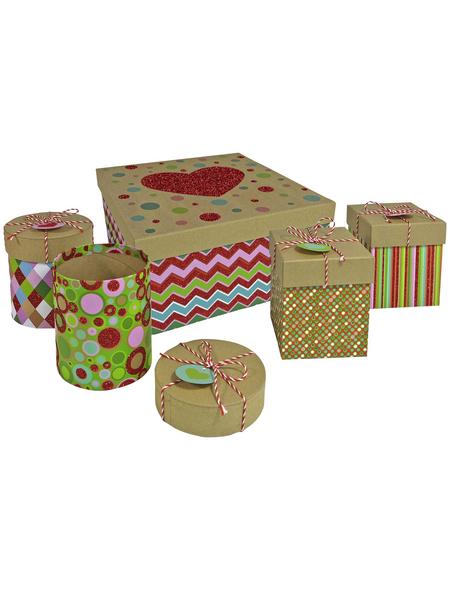 Kartonagen Happy Boxes, 5 teilig, mit Glimmer, 1x gross + 4x klein
