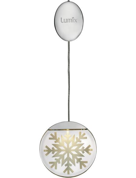 Krinner LED-Fensterbild »Lumix Deco Lights«, Schneekristall, rund, ø: 10 cm, Batteriebetrieb