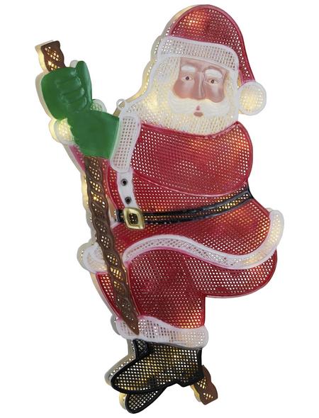 KONSTSMIDE LED-Fensterbild, Weihnachtsmann, Kunststoff, weiß/rot/schwarz/grün
