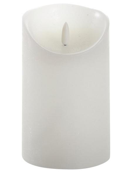 CASAYA LED-Kerze »3D Rustic FLAME«, Ø 9 cm, weiß, Timer, inkl. Batterien