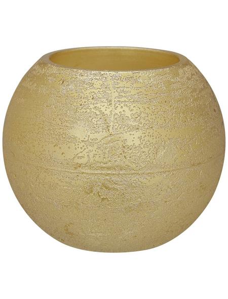 CASAYA LED-Kerze »Rustic«, Ø 7,5 cm, goldfarben, 3D-Flacker-Effekt, Timer, inkl. Batterien
