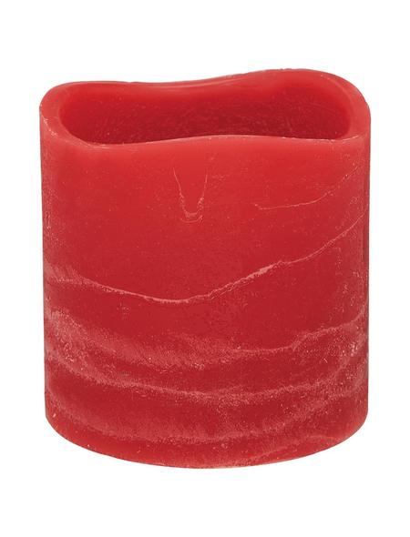 CASAYA LED-Kerze »Rustic«, Ø 7,5 cm, rot, 3D-Flacker-Effekt, Timer