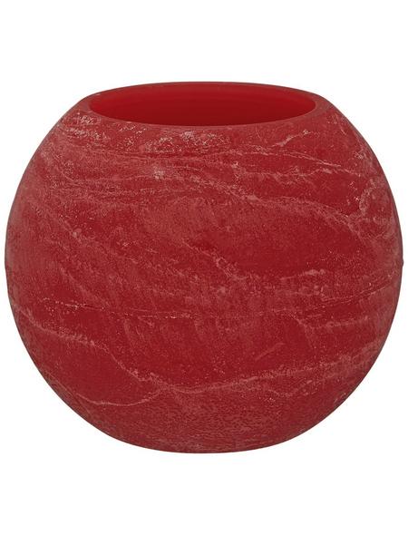 CASAYA LED-Kerze »Rustic«, Ø 7,5 cm, rot, 3D-Flacker-Effekt, Timer, inkl. Batterien