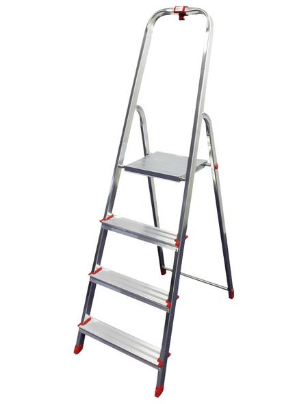 Leiter, 4 Stufen, Aluminium/Stahl