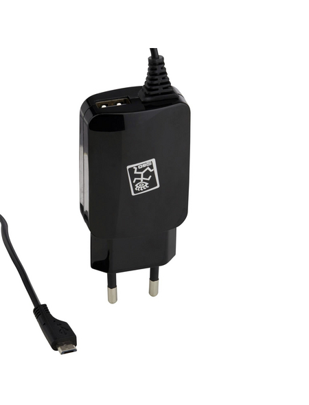 2GO Netzladegerät, Schwarz, USB-Buchse, Micro-USB-Stecker