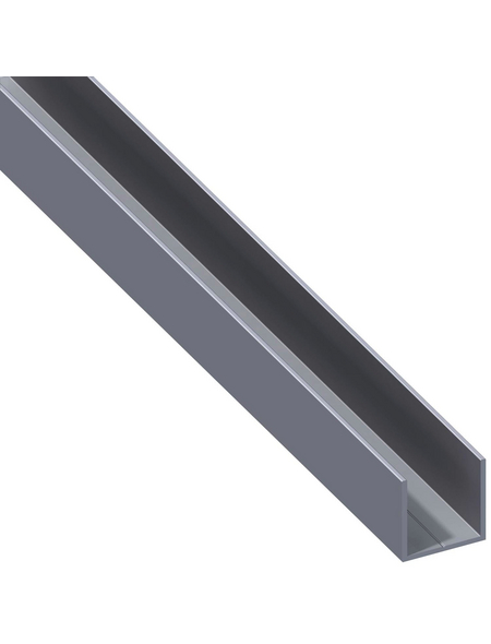 alfer® aluminium Quadrat-U-Profil, Combitech®, LxBxH: 2500 x 23,5 x 23,5 mm, Aluminium