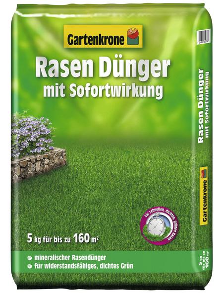 GARTENKRONE Rasendünger, 5 kg, für 160 m², schützt vor Nährstoffmangel