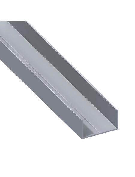 alfer® aluminium Rechteck-U-Profil, LxBxH: 1000 x 27,5 x 15,5 mm, Aluminium