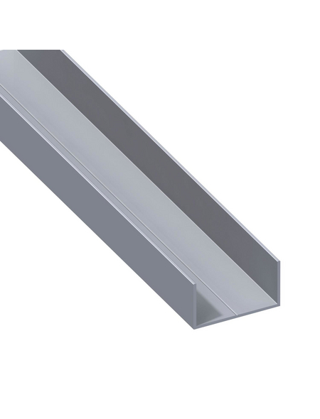 alfer® aluminium Rechteck-U-Profil, LxBxH: 2500 x 19,5 x 11,5 mm, Aluminium
