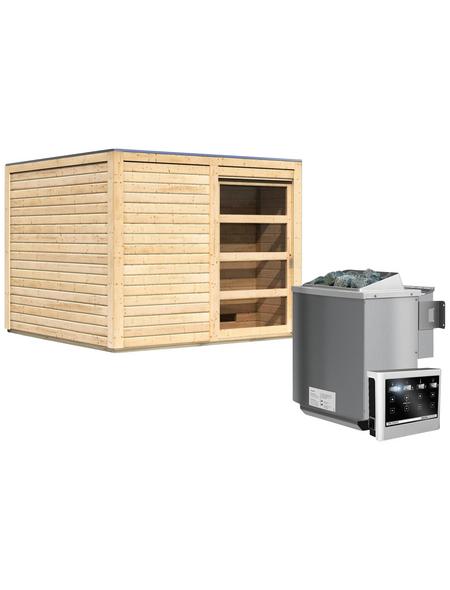 KARIBU Saunahaus »Kandau«, BxTxH: 276 x 276 x 210 cm, 9 kW Bio-Kombi-Ofen mit ext. Steuerung