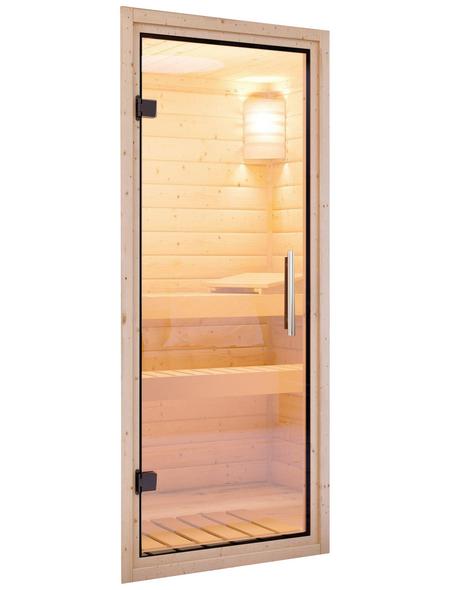 KARIBU Saunatür, natur|transparent, geeignet für: Wandstärken von 68 mm, natur|transparent