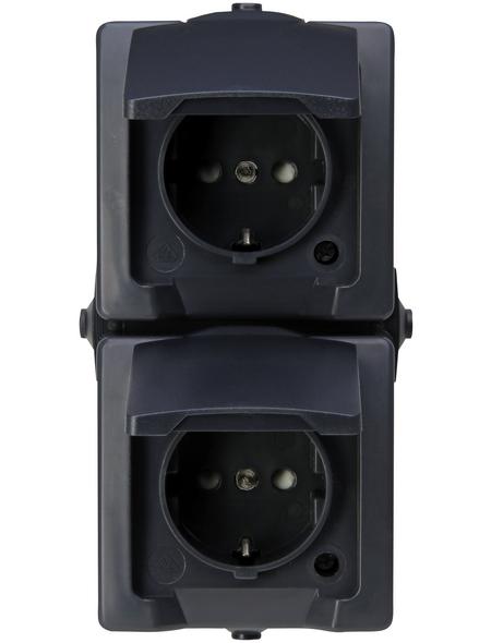 KOPP Schutzkontakt-Steckdose »NAUTIC«, anthrazit, Kunststoff
