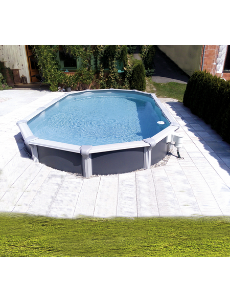 KWAD Schwimmbecken »Steely Supreme Design «, grau, BxHxL: 370 x 132 x 730 cm