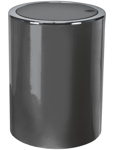 KLEINE WOLKE Schwingdeckeleimer CLAP zylindrisch Kunststoff platin Ø 19 x 24,5 cm