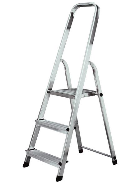 KRAUSE Stufen-Stehleiter »CORDA«, 3 Sprossen, Aluminium