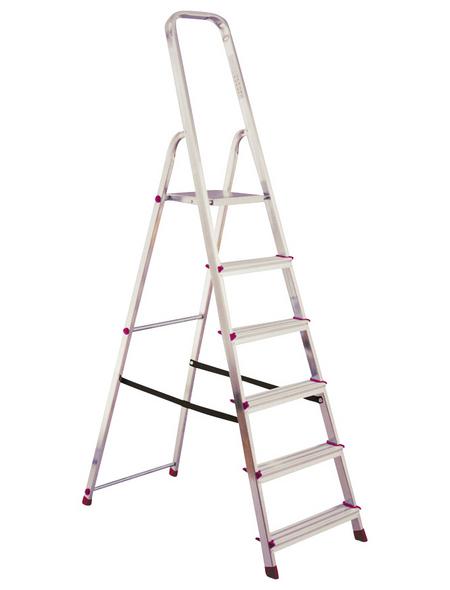 KRAUSE Stufen-Stehleiter »CORDA«, 6 Sprossen, Aluminium