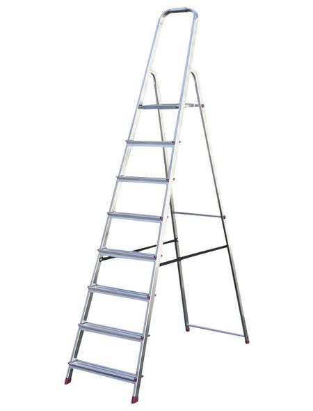KRAUSE Stufen-Stehleiter »CORDA«, 8 Sprossen, Aluminium