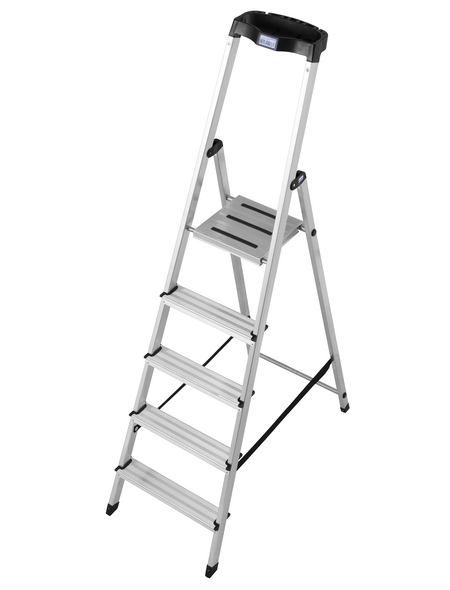 KRAUSE Stufen-Stehleiter »MONTO Safety«, 5 Sprossen, Aluminium