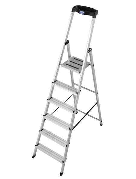 KRAUSE Stufen-Stehleiter »MONTO Safety«, 6 Sprossen, Aluminium