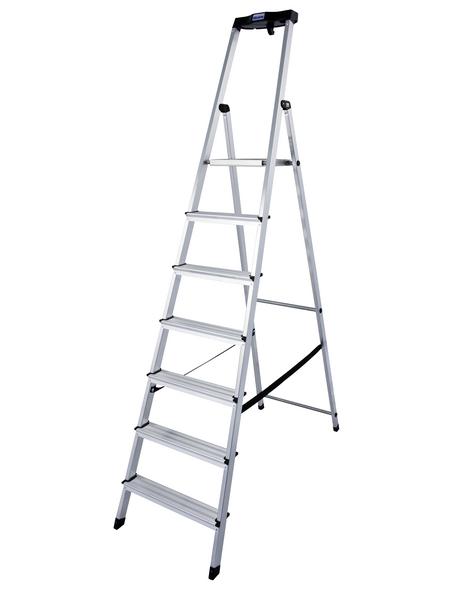 KRAUSE Stufen-Stehleiter »MONTO Safety«, 7 Sprossen, Aluminium