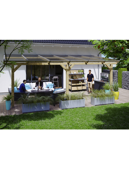 SKANHOLZ Terrassenüberdachung »Andria«, Breite: 648 cm, Dach: Polycarbonat (PC), natur