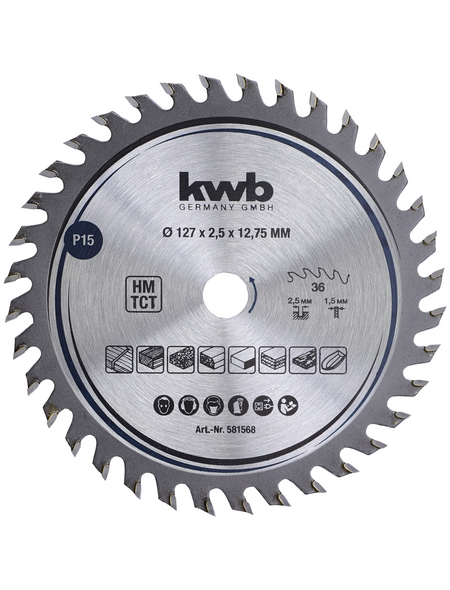 KWB Tischler-Kreissäge-Blatt, 127 mm, Kreissägeblatt, 127x12,75 Z36