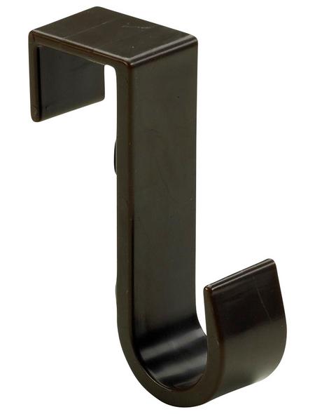 HETTICH Türhängehaken, Braun, 1 Haken, Kunststoff, Braun, Kunststoff, 70 x 22 x 50 mm